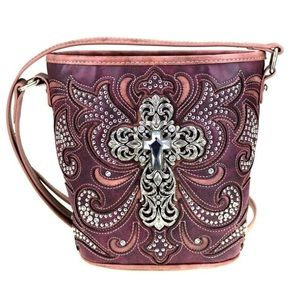 Montana West Bucket Shape Crossbody Bag Burgundy